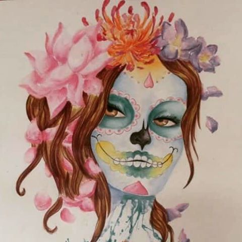 【cutecatcosplayart】さんのInstagramをピンしています。 《Another older work ^_^ this was also my first work I managed to sell 😆 #art #artist #auquarell #pencil #colour #cathrine #flowers #hairstyle #hair #face #portrait #halloween #makeup #halloweenmakeup #oldart #cherryblossoms #cherry #blossom #watercolour》