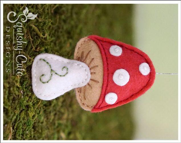 Felt Mushroom Ornament from Kelli and Gerta at Squishy-Cute Designs