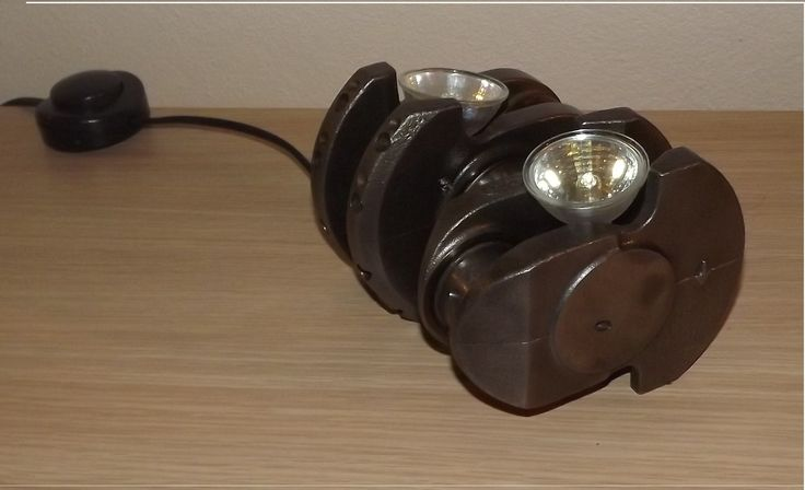 Lamp built from recycled car parts