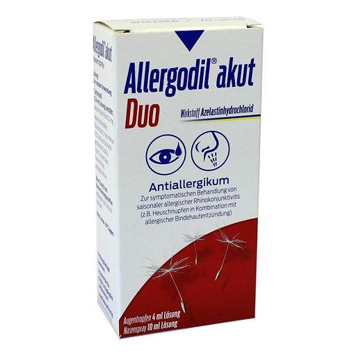ALLERGODIL akut Duo Nasenspray: Zur symptomatischen Behandlung der saisonalen allergischen Rhinitis (Heuschnupfen). Augentropfen: Zur Behandlung und Vorbeugung der Symptome der saisonalen allergischen Konjunktivitis (Bindehautentzündung, bei Heuschnupfen) bei Erwachsenen und Kindern ab 4 Jahren sowie zur Behandlung der Symptome der ganzjährigen allergischen Konjunktivitis bei Erwachsenen und Kindern ab 12 Jahren.