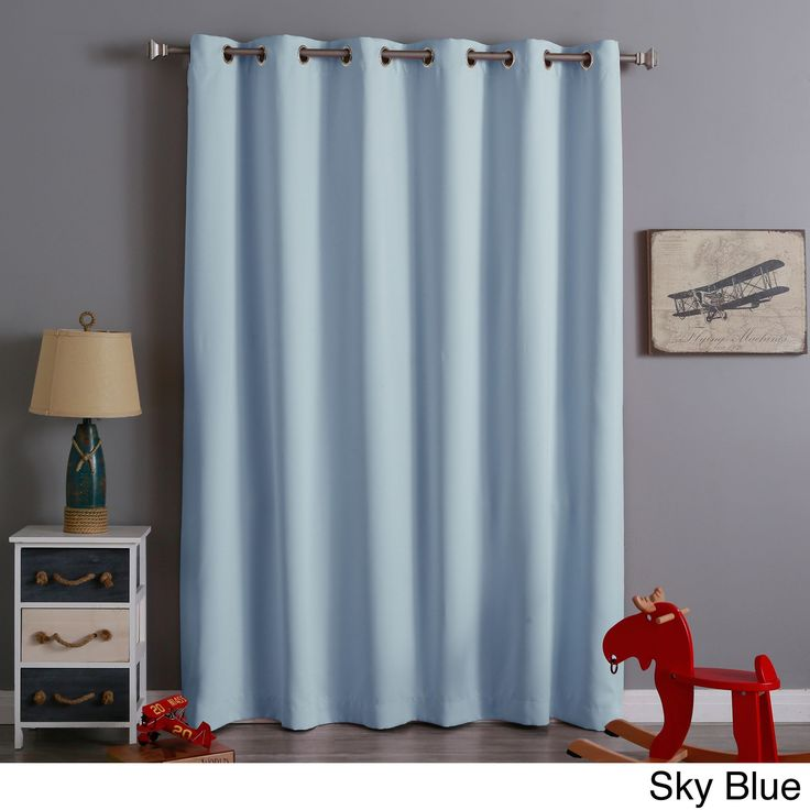 Aurora Home Extra Wide Thermal Insulated 84 Inch Blackout Curtain Panel Sky Blue