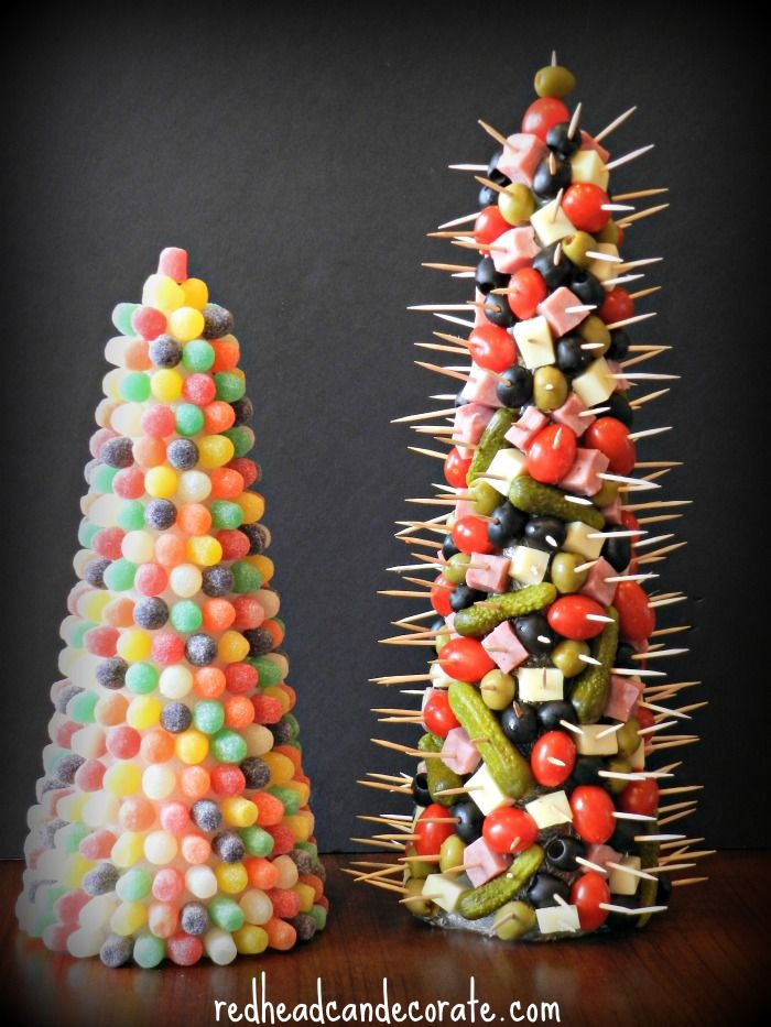 Gumdrop tree (can save & re-use) Appetizer tree. Use styrofoam cone, wrap with plastic wrap 1st.