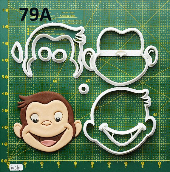 Curious George Cookie Cutter Curious George Fondant Cutter Curious George Party Curious George Birthday Curious George Baby Curious George Cake Topper Curious George Invitation All cookie cutters are made printed by a quality 3D printer at the time of order. Each set of cutter has an