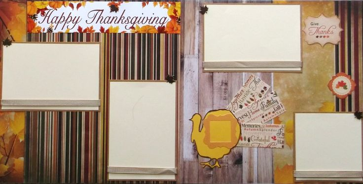 Two Thanksgiving scrapbook pages premade are ready for your photos. Designed from paper, cardstock, foil, satin ribbon, die cuts, marker, and metal leaf brads. Acid and lignin free materials were used to preserve. All Ships in sturdy protective packaging. The harvest colors, turkey, and leaves will compliment your Thanksgiving photos.