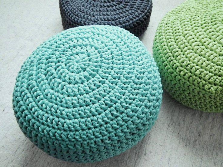 Aqua Ottoman Pouf - Aqua Crochet Floor Cushions - Ottoman Nursery Foo ...