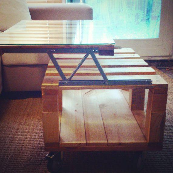 Frankie mesa de centro extensible con ruedas fabricada - Mesa de palets bricolaje ...