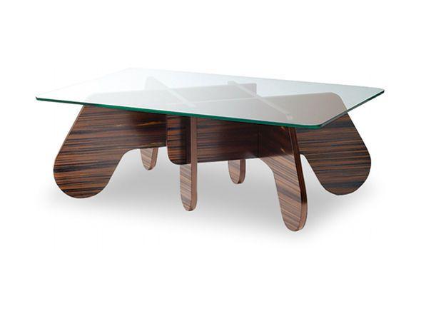 パズルの様に組み合わされた独特の脚フレームと、クリアガラスの天板で構成され、脚は太めの丸みを帯びたパーツのため、モダンでありながら柔らかくポップな印象になっています。こちらは幅100cm×奥行65cmの長方形天板タイプです。