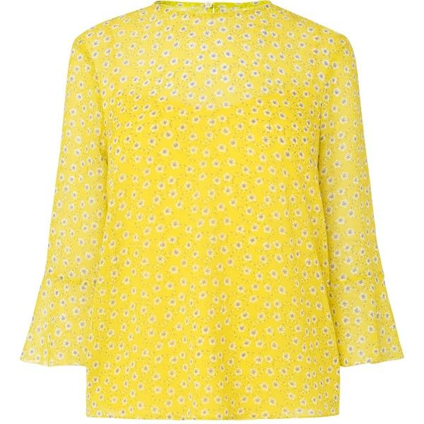 L.K. Bennett Ros Yellow Silk Woven Top ($180) ❤ liked on Polyvore featuring tops, summer tops, lemon yellow top, floral print tops, slouchy tops and silk top