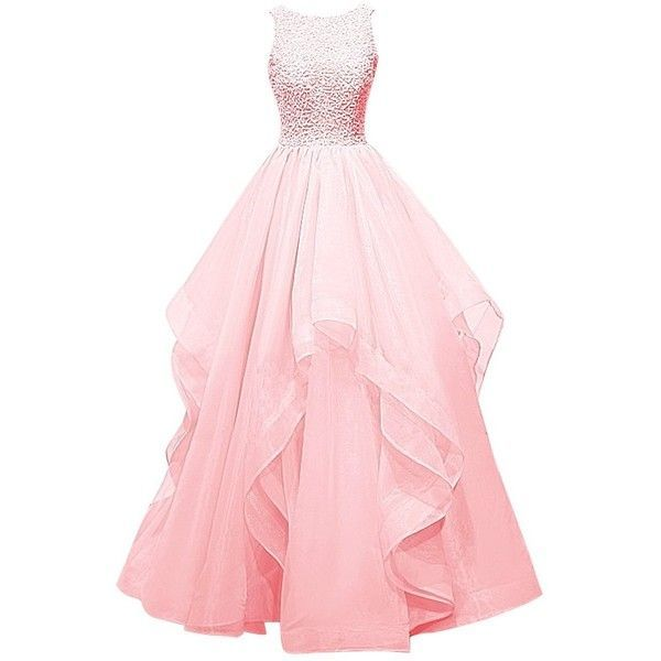 Dresstells Long Prom Dress Asymmetric Bridesmaid Dress Beaded Organza... (€110) ❤ liked on Polyvore featuring dresses, gowns, beaded gown, pink dress, pink ball gown, pink bridesmaid dresses and long dresses