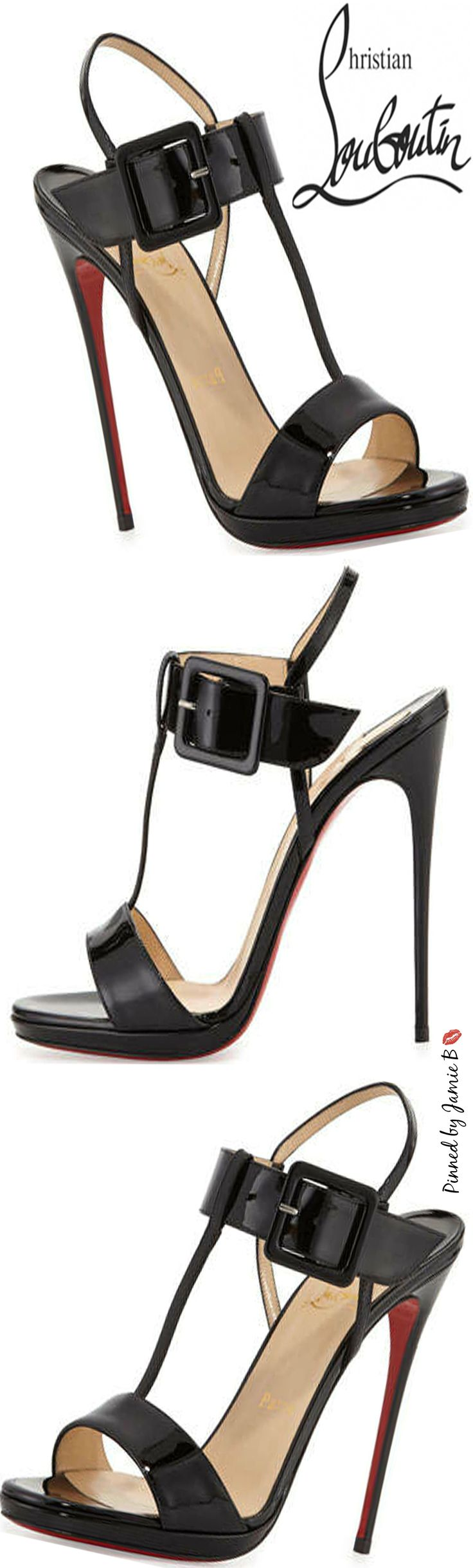 Christian Louboutin | Beltega Patent Red Sole Sandal | Jamie B