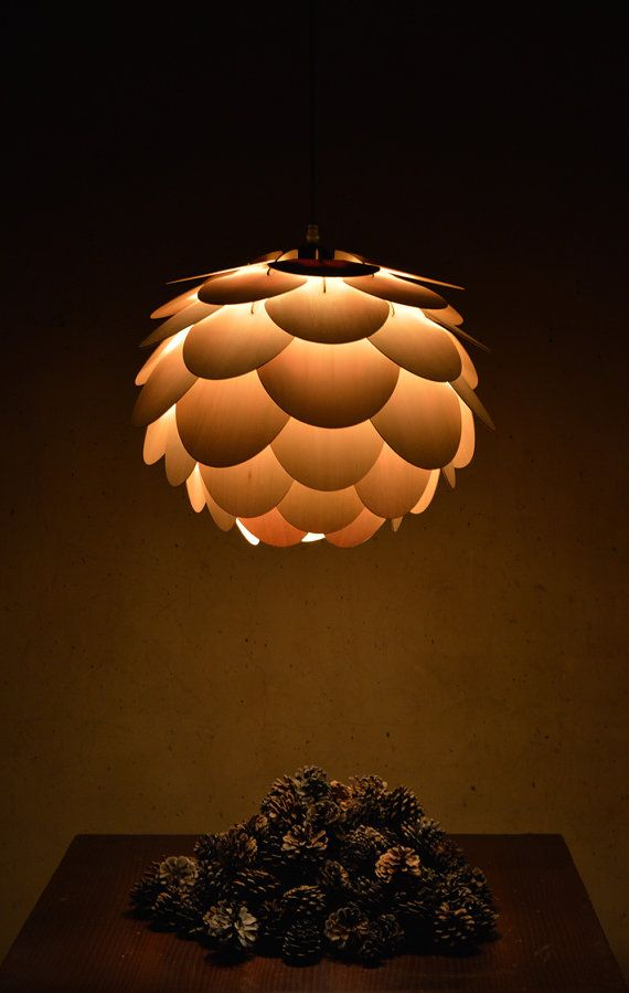 Beautiful round pine cone pendant lamp hanging by oaklamp on Etsy