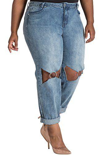 21e5dd8350e Poetic Justice Curvy Fit Women s Plus Size O-Ring Knee Cut-Out Boyfriend  Jeans