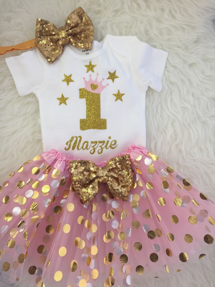 Gold Twinkle, Twinkle Little Star First Birthday Outfit with Light Pink Tutu