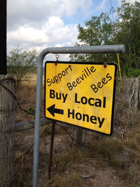 Sure sign that you're on the right road to the Bee County Amish Combination Store where honey from their apiaries is sold.
