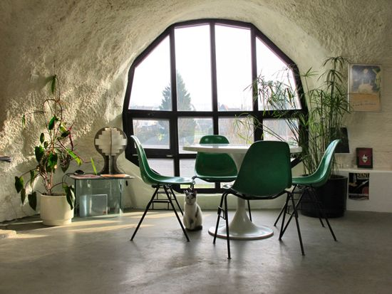 love this space ( http://www.museumotel.com ): Bubbles House, Spaces, Dining Room, Interiors, French Architecture, Windows, Green Chairs, Hobbit House, Design