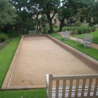 Bocce ball on diynetwork.com says it can be 34 x 6