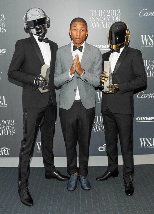 Thomas on the left and Guy on the right. I honestly couldn't care less about Pharrell.