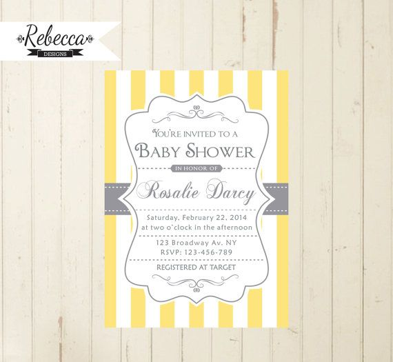 yellow baby shower invitation neutral invite by RebeccaDesigns22