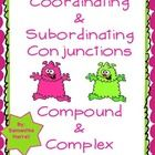 Teach coordinating & subordinating conjunctions as well as the related compound & complex sentences with this unit.    This is very similar to my Penguin conjunction/compound/complex sentence unit. The graphics, examples, and tests have changed, but the overall format is the same. I just wanted to offer something more generic and less seasonal that would help us teach these skills. CCSS aligned.