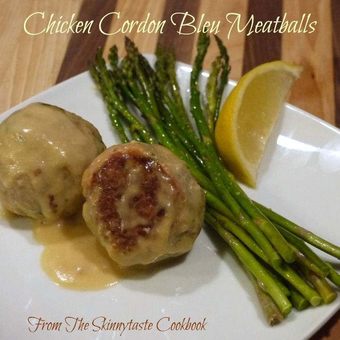 Chicken Cordon Bleu Meatballs from the Skinnytaste Cookbook | The Good Hearted Woman