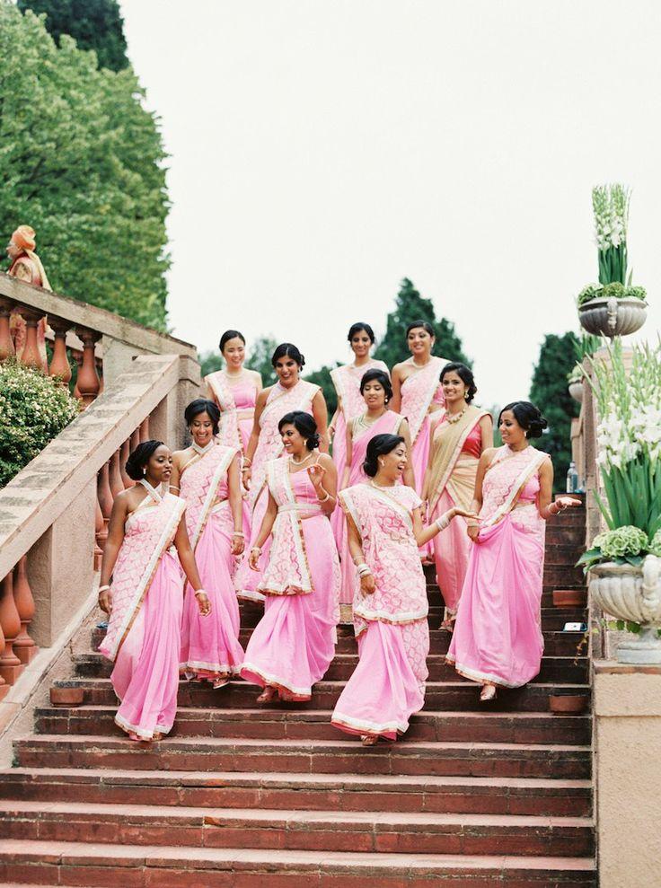 Pink Bridesmaid Sarees   Jill + Niraj   Indian Wedding Blog   Think Shaadi