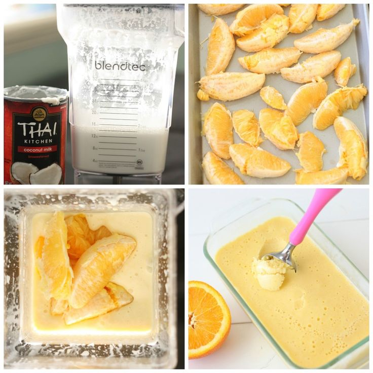 Orange Creamsicle Icecream 3/4 cup coconut milk(full fat), 2 medium Oranges, 4 tbsp sweetener, 1 tsp Vanilla extract