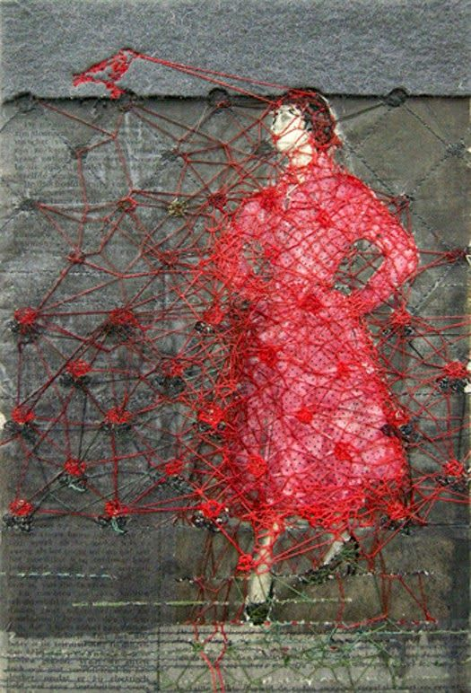 Hinke Schreuders - картины, обработанные чернилами и пряжей.