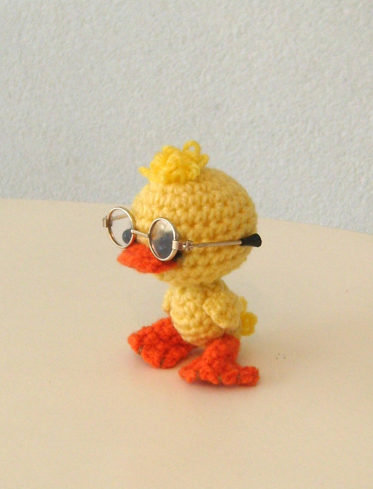 Artist bear, collectible, one-of-a-kind amigurumi, teddy bear, duck. $27.00, via Etsy.