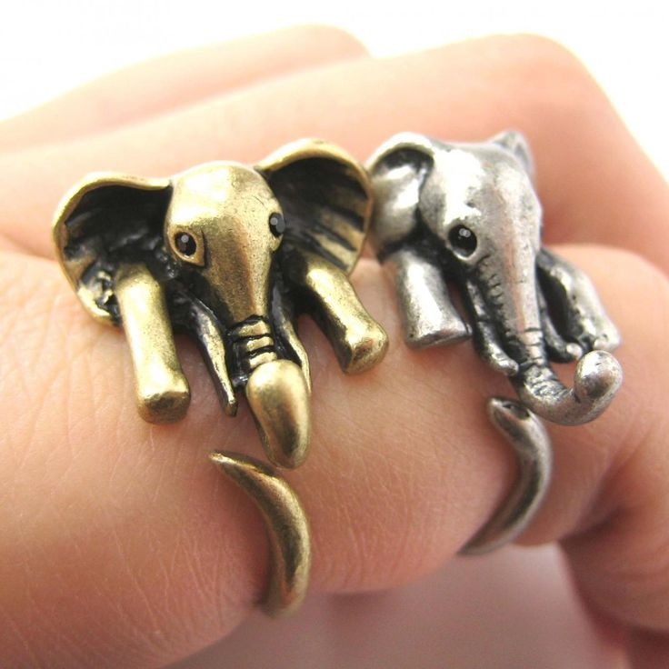 Realistic African Elephant Animal Wrap Ring in Bronze