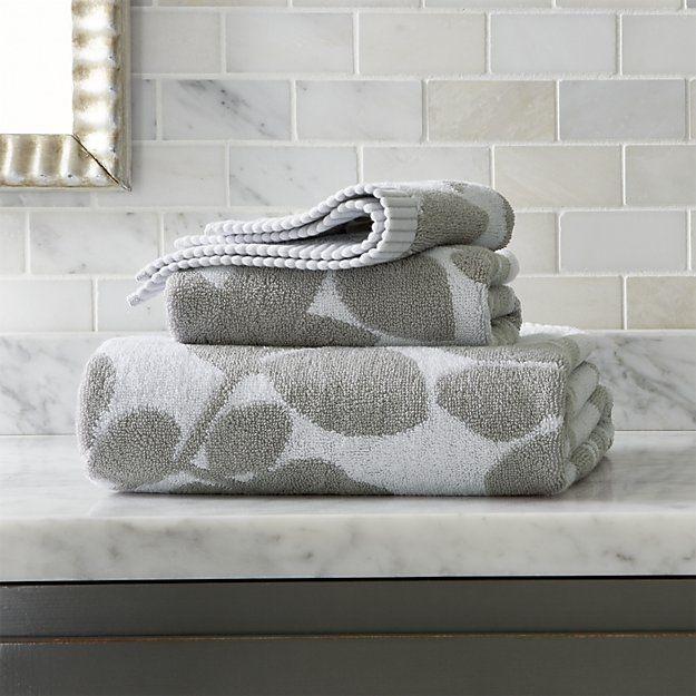 Kukkula Grey Bath Towels | Crate and Barrel