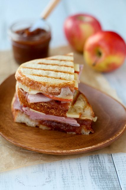 Ham & Apple Butter Panini - used provolone and skipped the apple slices, but would be good the recipe way too