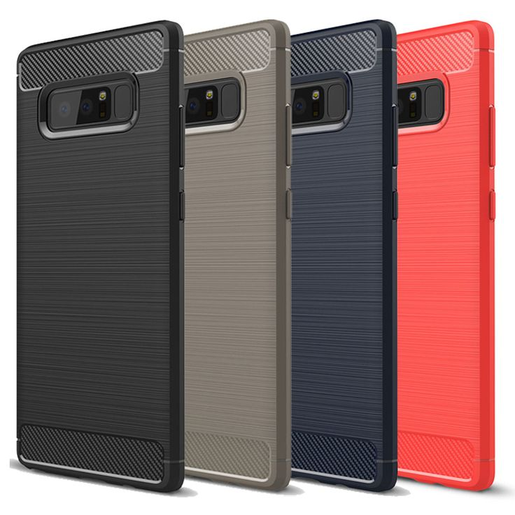 Bakeey Carbon Fiber Brushed Finish Anti Fingerprint Soft TPU Case For Samsung Galaxy Note 8