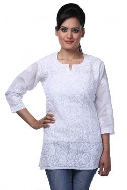 #Short Tops #Lucknow Chikankari White Cotton Top by Ada Chikan Price: Rs 599 Buy now: https://goo.gl/rDaOKY #FreeShipping #WorldwideShipping #CashOnDelivery #EasyReturns # Product Code : A90296