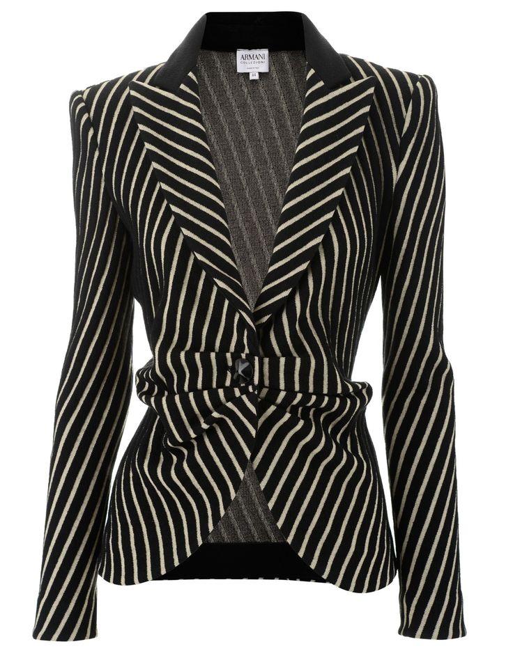 Armani Collezioni Black Sand Jacket Stripes