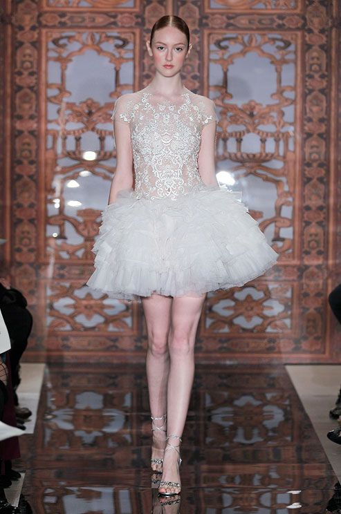 Short wedding dress from Reem Acra, Fall 2013