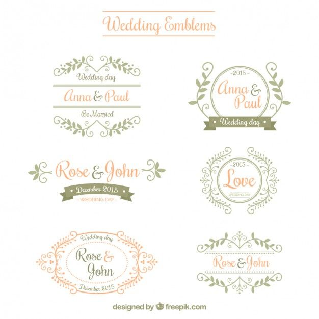 Emblemas Do Casamento Ornamentais Vectors And Fonts Wedding