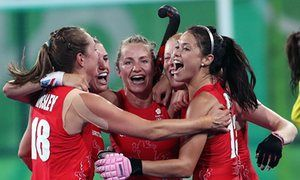 #RIO216  Great Britain celebrate their victory over New Zealand in the Olympic hockey semi-final
