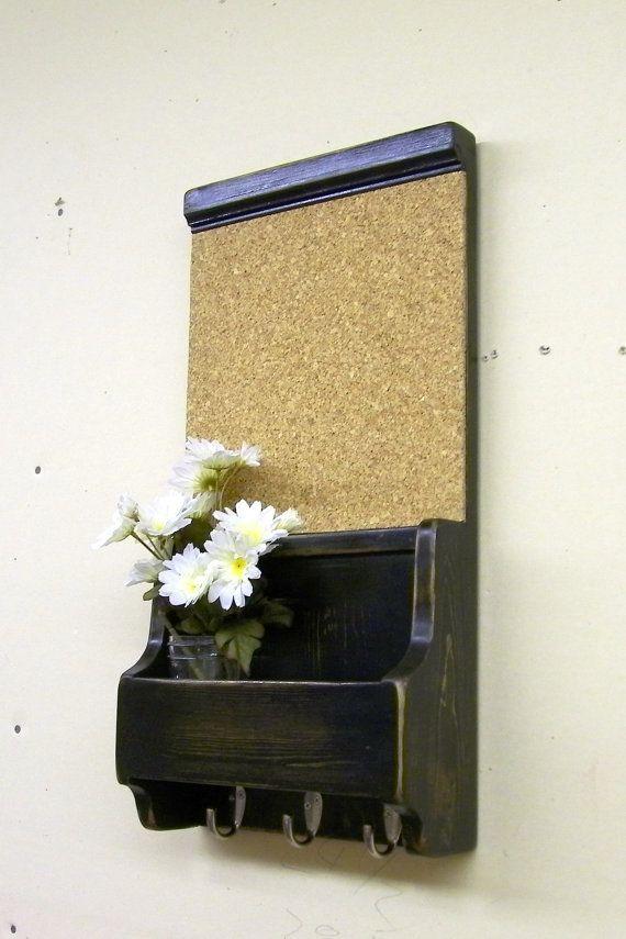 wood corkboard wall organizer key hooks shabby by