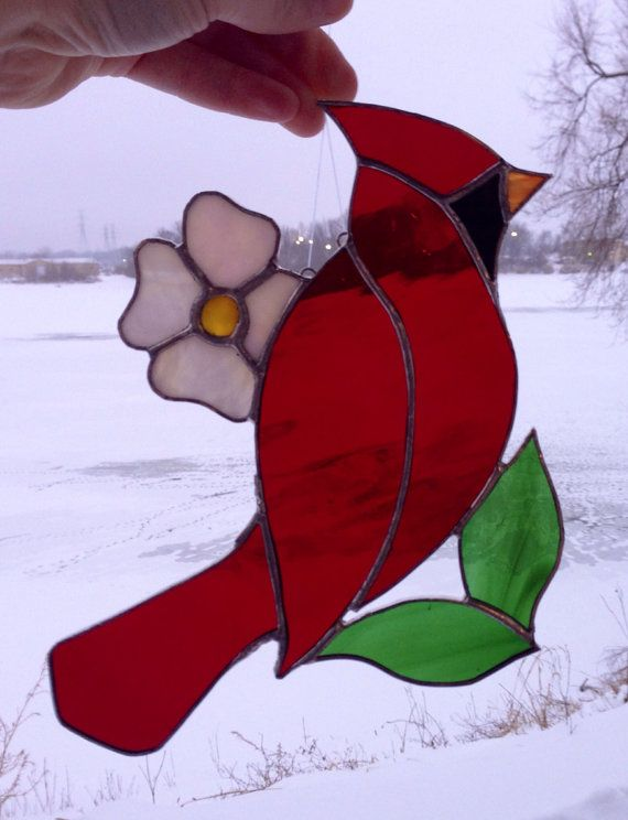 Ready to Ship Cardinal Stained Glass Sun Catcher on Etsy, $40.00