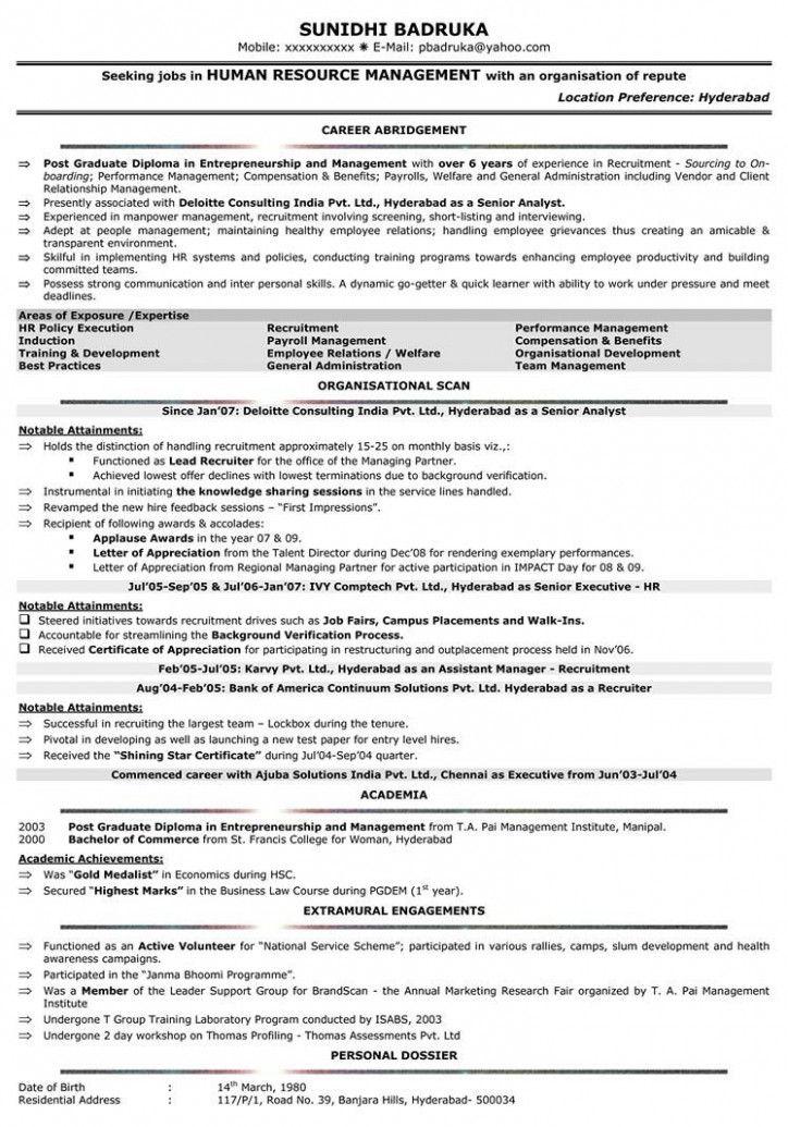 10 Resume Format In Phrase For Hr Govt Human Resources Resume Human Resources Best Resume Format
