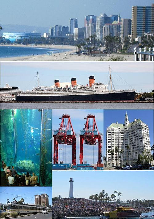 Images From Top Left To Right Long Beach Skyline Bluff Park Retired Rms Queen Mary Aquarium Of The Pacific Blue Cavern Exhibit Tti Terminal At