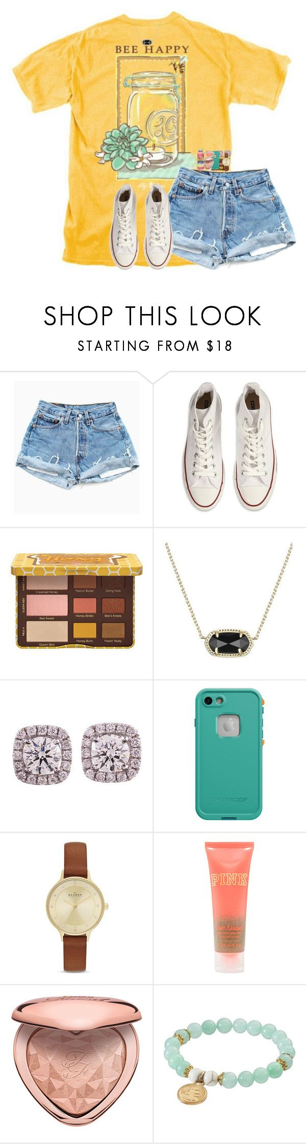 """"""""""" by hailstails ❤ liked on Polyvore featuring Converse, Kendra Scott, LifeProof, Skagen, Wish Upon A Rock and Mangosteen"""