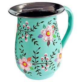 Add a splash of colour to your dining table with this hand-painted steel jug, featuring a vibrant floral design. Perfect for holding punch, it looks equally as striking displaying fresh flowers for an attractive centrepiece.  Product: JugConstruction Material: Stainless steelColour: TurquoiseFeatures: Hand-painted2 L CapacityDimensions: 19 cm H x 14 cm DiameterCleaning and Care: Hand wash only