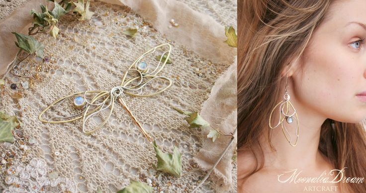 Very special and one of a kind pair of earrings. A artisticly designed dragonfly wings, they make a beautiful dragonfly when put together <3  Moonstone earrings made of full silver with beautiful drops of moonstone. Weight for one earring is approx. 7 gramms, not as heavy as it seems. Thease earrings are made only of pure sterling silver and brass, totally nickel free. Hook´s gauge is 0,5mm, can be changes by request. Unique piece and handmade with care by Mo. <3