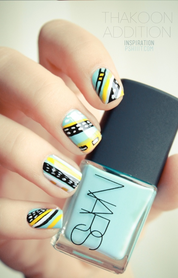Yellow Aqua White and Black handpainted nail art - this is so flippin cool