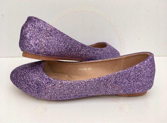 Purple Glitter Flats Purple Ballet Flats Glitter Shoes Lilac