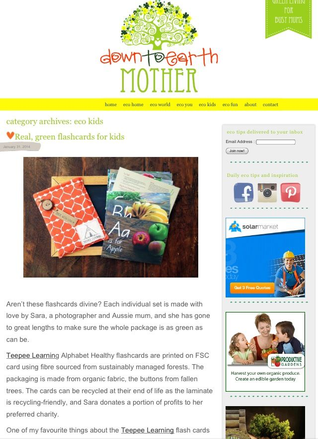 Lovely write up on Down to Earth Mother blog! Check it out!