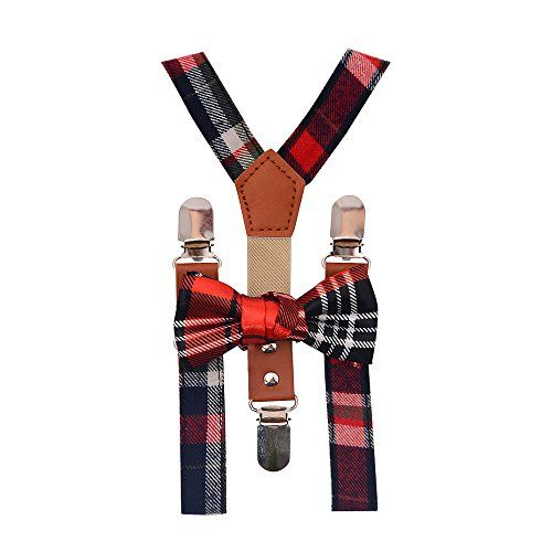 ZUUC Kids Boys Girls Toddler Tuxedo Bow Tie And Suspenders Set-With Elastic Adjustable Multi Color Clip-on Suspender (Colorful Gingham)