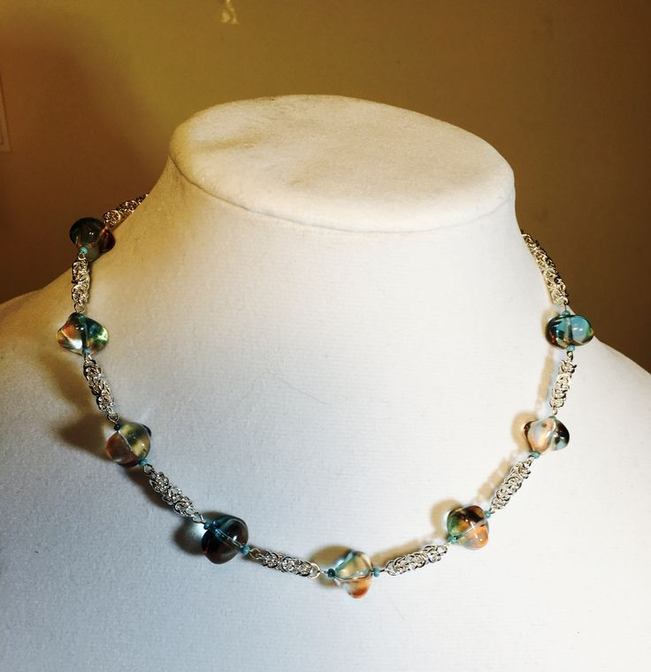 Turquoise Glass Beads & Byzantine Necklace selling for $30  manoncreativemoments@gmail.com