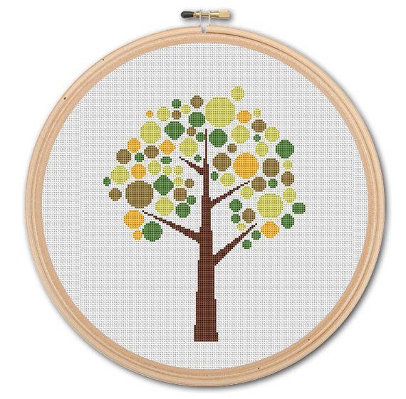 Cute Tree  Counted Cross stitch  Pattern PDF by WonderNeedle, $3.99